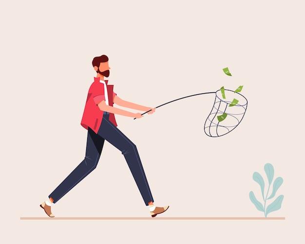 Illustrazione dell'uomo che cattura soldi