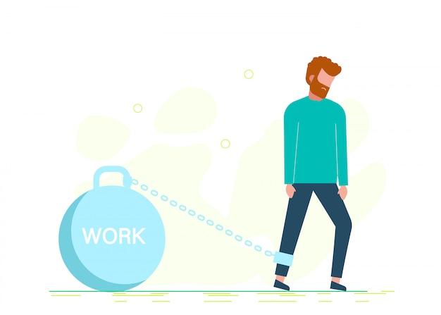 Uomo incatenato al peso con il lavoro di iscrizione. stock cartoon illustrazione