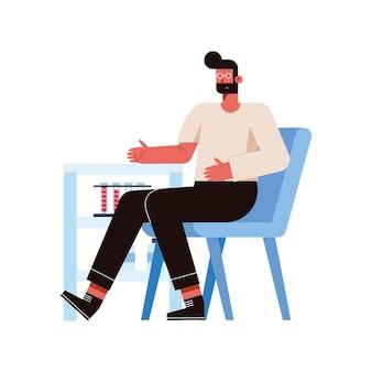 Uomo sulla sedia che dona con provette di sangue su sfondo bianco
