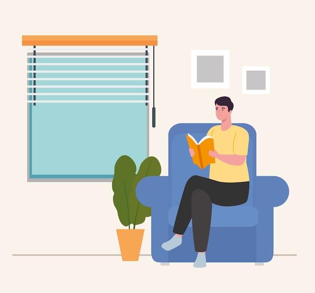 Uomo sulla sedia che legge il libro a casa design di attività e tempo libero