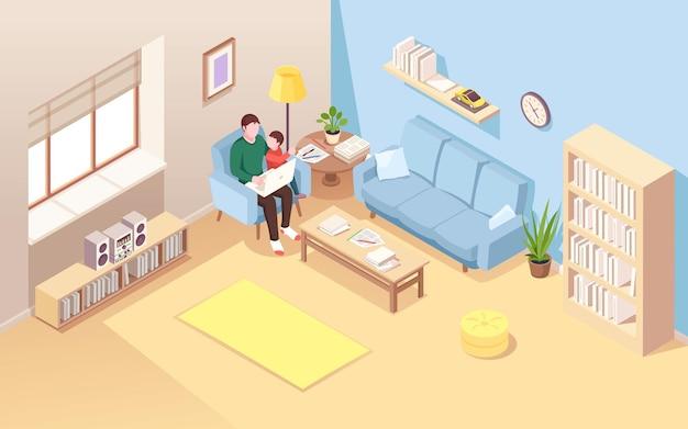 Uomo su sedia con bambino che fa lavoro a distanza sul taccuino vista isometrica sul soggiorno con libero professionista