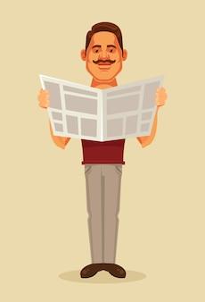 Giornale della lettura di carattere dell'uomo. illustrazione di cartone animato piatto