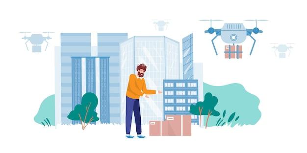 Personaggio uomo riceve acquisti online da un drone di consegna