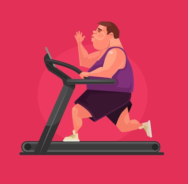 Il personaggio dell'uomo corre sul tapis roulant. illustrazione di cartone animato piatto vettoriale