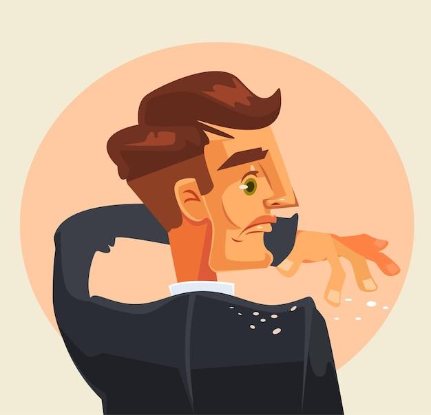 Il personaggio dell'uomo si scrolla di dosso la forfora dalla spalla.