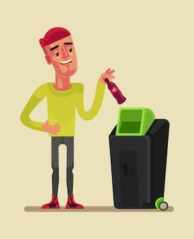 Il personaggio dell'uomo lancia l'illustrazione del fumetto della spazzatura