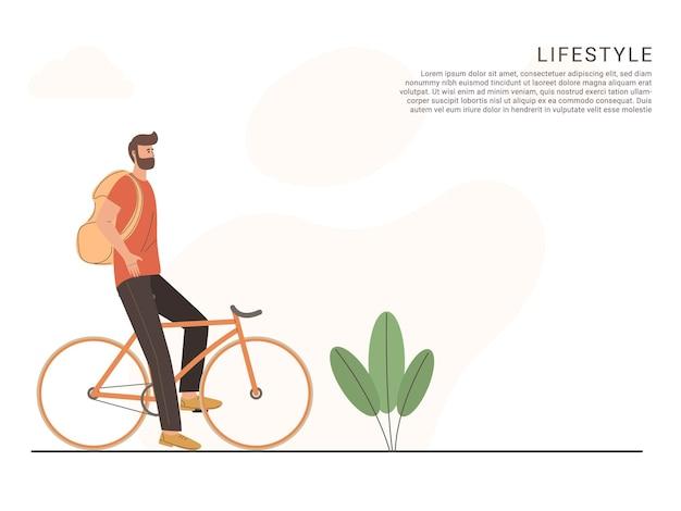 Personaggi dell'uomo che guidano lo stile di vita in bicicletta e il concetto di servizio di corriere