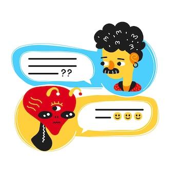 L'uomo in chat, parla con l'alieno. disegno dell'icona dell'illustrazione del personaggio dei cartoni animati di stile moderno piatto vettoriale. isolato su sfondo bianco. messaggio di dialogo, chat messenger, concetto di connessione aliena ufo