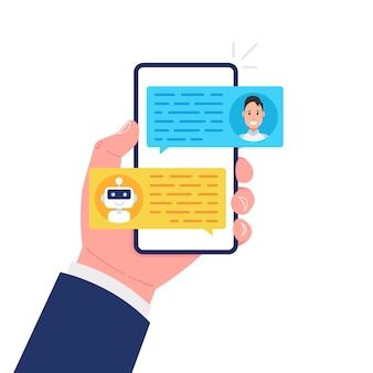 Uomo in chat con chat bot sullo smartphone