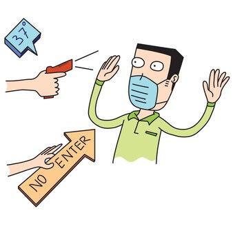 Uomo controlla la tua temperatura corporea