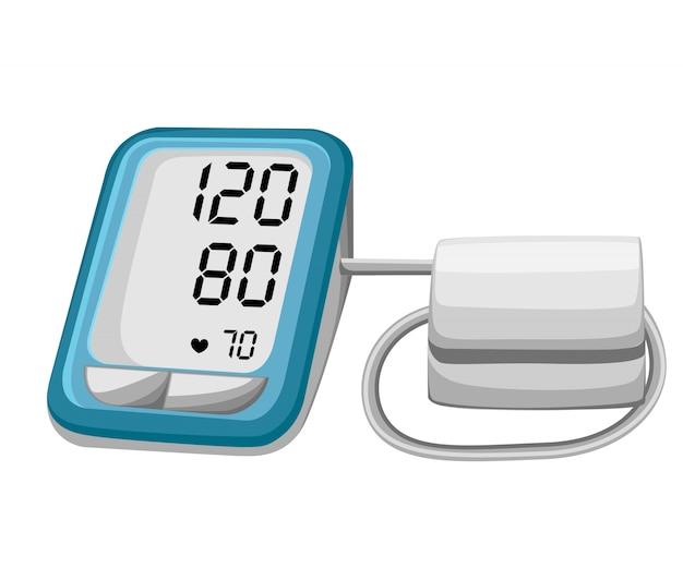 Uomo che controlla la pressione sanguigna arteriosa. tonometro digitale. apparecchiature mediche. diagnostica l'ipertensione, il cuore. misurare, monitorare la salute. concetto di assistenza sanitaria. illustrazione.