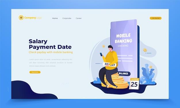 Un uomo controlla l'equilibrio sull'app mobile banking per il concetto di illustrazione del giorno di paga