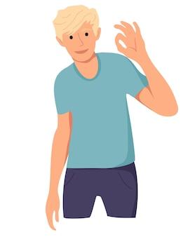 L'uomo mostra allegramente ok con la mano gesto ok okey l'uomo felice esprime le sue emozioni positive