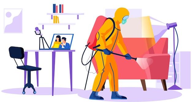 Uomo nell'illustrazione della tuta di protezione chimica