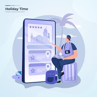 Un uomo sceglie una destinazione di viaggio sul concetto di app di viaggio mobile