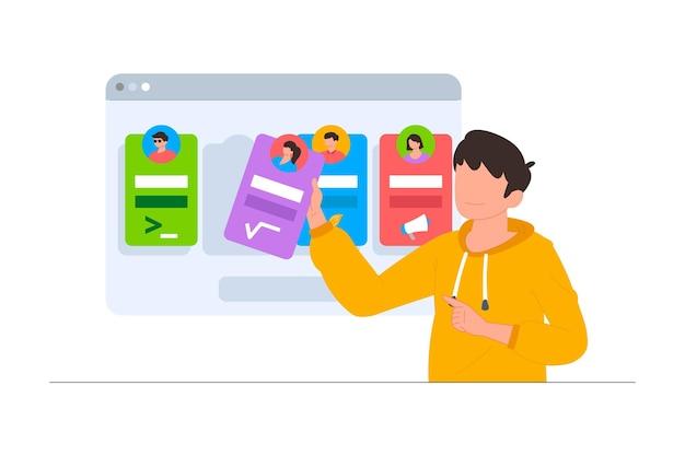 Un uomo che sceglie l'insegnante in una scena di illustrazione di un sito web