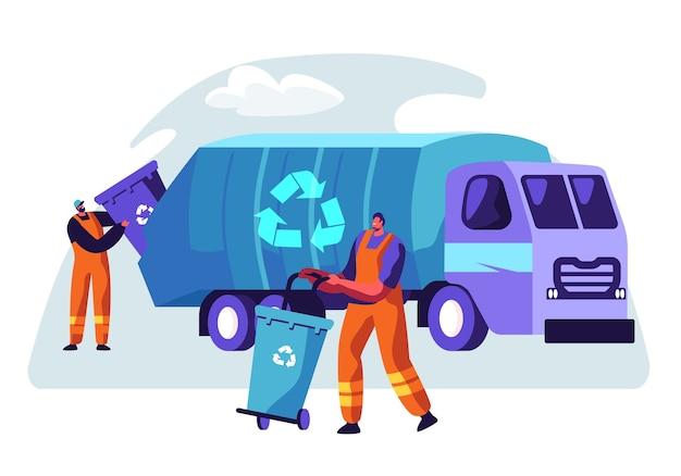 Uomo che pulisce il contenitore della spazzatura al camion della spazzatura con l'illustrazione di concetto del segno di riciclo