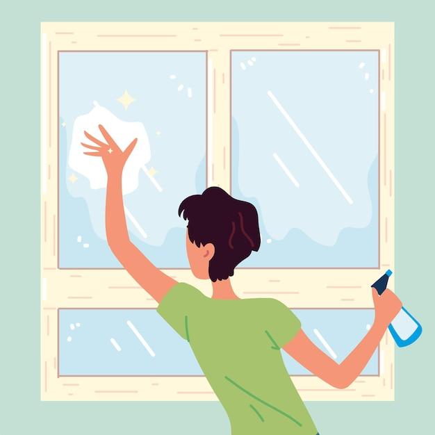 Uomo che pulisce la finestra