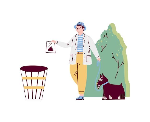 L'uomo pulisce le feci dopo il suo animale domestico in stile cartone animato piatto