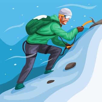 Uomo che scala la montagna di ghiaccio nell'illustrazione della scena dello sport estremo della tempesta di neve