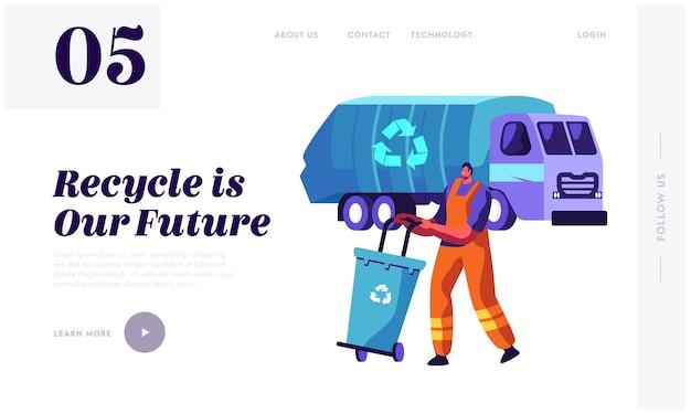 L'uomo raccoglie il contenitore dei rifiuti per il camion della spazzatura con il modello di pagina di destinazione del segno di riciclaggio