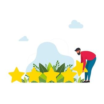 L'uomo raccoglie 5 stelle giganti l'uomo d'affari raccoglie una stella. buone prestazioni nei servizi e nel lavoro. concetto di design concettuale e aziendale. concetto di valutazione. feedback online, recensione del prodotto dei clienti