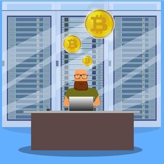Uomo sul concetto di bitcoin mining online computer. fattoria di bitcoin. moneta d'oro con il simbolo bitcoin in ambiente elettronico.