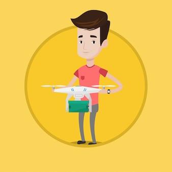 Uomo che controlla il drone di consegna con pacchetto postale.