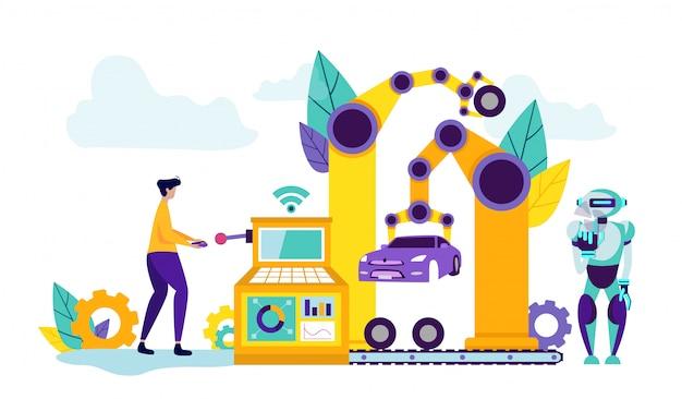 L'uomo controlla la tecnologia nella fabbrica di automobili.