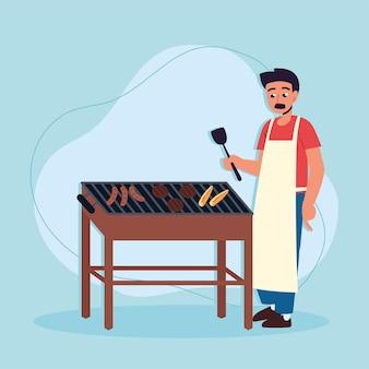 Uomo che cucina barbecue