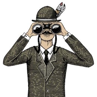 Uomo in costume che osserva tramite il binocolo, illustrazione incisa o disegnata a mano del vecchio cannocchiale dell'annata. cacciatore, ornitologo, scienziato in legno tagliato o stile schizzo.