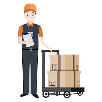 Uomo e cassa sul carretto, servizio di consegna