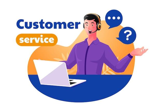L'assistenza clienti dell'uomo lavora per rispondere ai reclami dei clienti