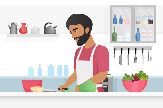 Uomo che taglia le verdure con il coltello nell'illustrazione della cucina