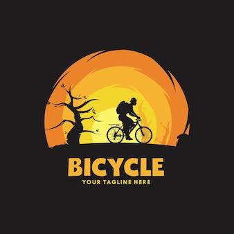 Modello di progettazione del logo dell'illustrazione dell'uomo in bicicletta