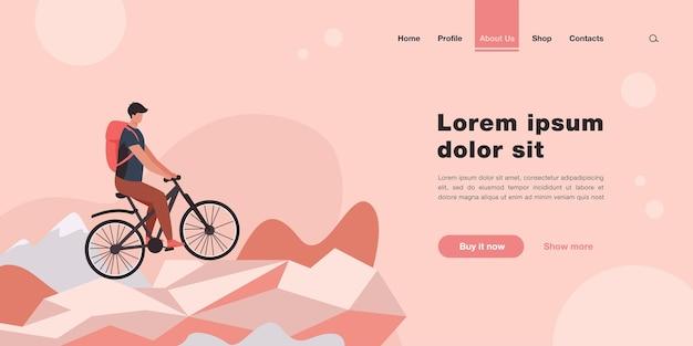 Uomo in bicicletta sulla pagina di destinazione della bicicletta da montagna in stile piatto