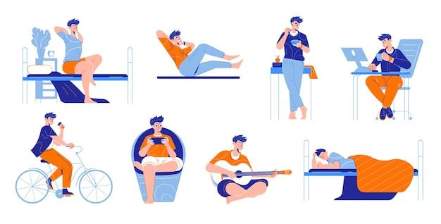 Insieme di routine quotidiana dell'uomo di elementi isolati con personaggi umani maschili durante l'illustrazione delle attività di lavoro e di svago