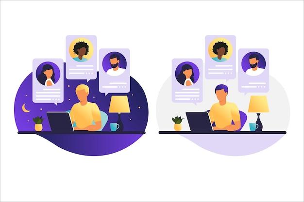 Uomo giorno e notte che lavora su un computer. persone sullo schermo del computer che parlano con colleghi o amici. videoconferenza di concetto di illustrazioni, riunione online o lavoro da casa.