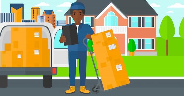 Uomo che consegna scatole