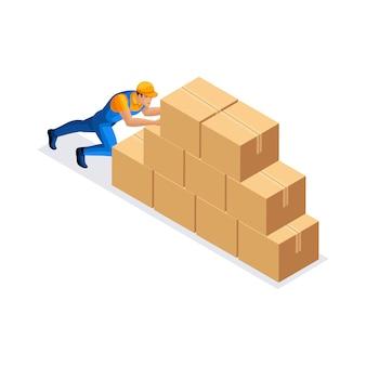 Servizio di consegna uomo spinge grandi scatole di cartone in magazzino uomo in uniforme. concetto di consegna. furgone di consegna veloce. fattorino