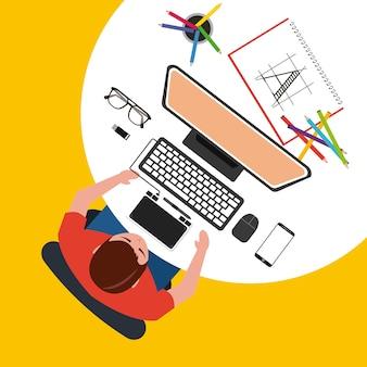 Designer uomo sta lavorando con il computer