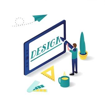 Uomo che progetta con la compressa nell'illustrazione isometrica di progettazione grafica 3d.