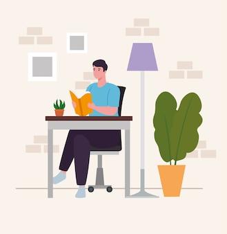 Uomo alla scrivania che legge il libro a casa design di attività e tempo libero
