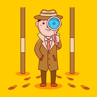 Professione di detective uomo in stile cartone animato piatto