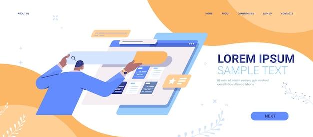 Sviluppatore uomo che crea la pagina di destinazione dell'interfaccia utente del sito web