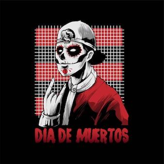 Uomo dia de muertos con illustrazione a mano in metallo, perfetto per t-shirt, abbigliamento o design di merchandising