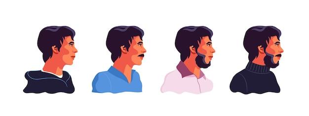 Uomo in diversi tipi di abbigliamento. barba. baffi. stile di capelli. illustrazione su uno sfondo bianco isolato.