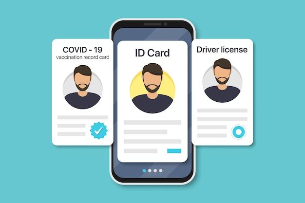Documenti digitali dell'uomo in smartphone. scheda di registrazione delle vaccinazioni covid-19, carta d'identità, patente di guida in un design piatto. illustrazione vettoriale
