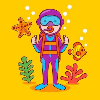 Professione di subacqueo uomo in stile cartone animato piatto