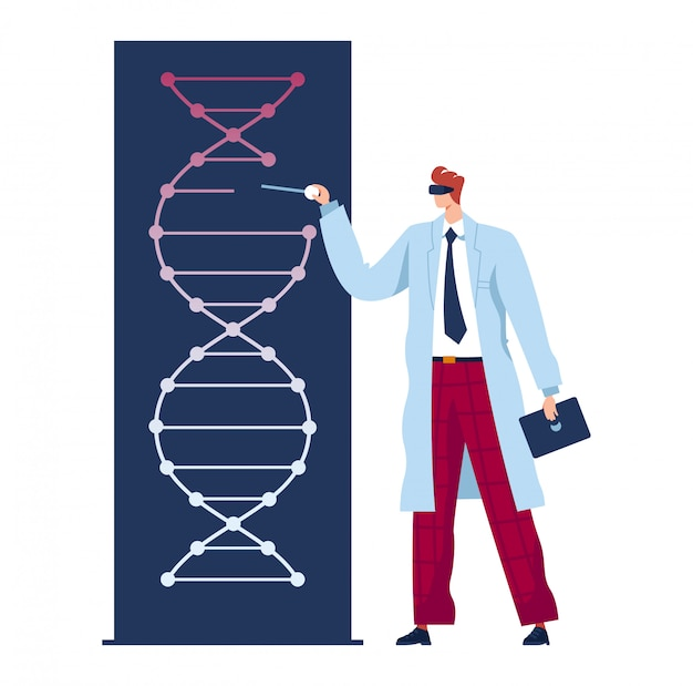 Equipaggi il medico, la medicina futura, l'esperimento genetico, lo scienziato in laboratorio esplora il dna, illustrazione piana, isolata su bianco